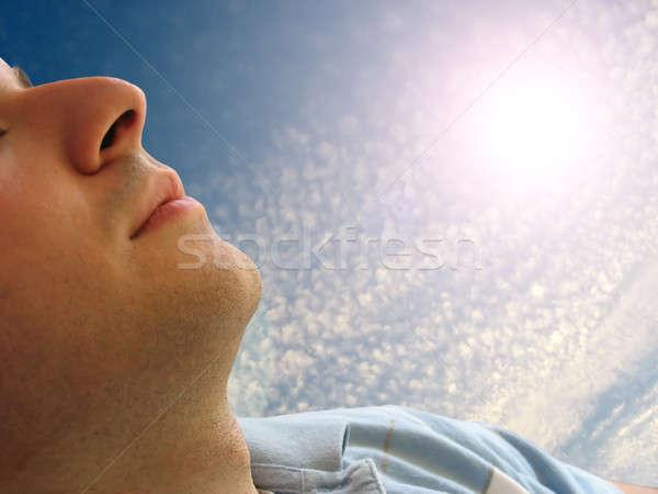 Indietro shot uomo dormire Foto d'archivio © ArenaCreative