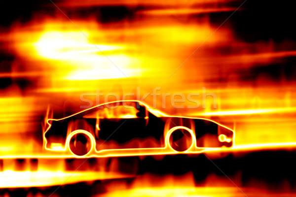 Stock photo: Fiery Blazing Sports Car
