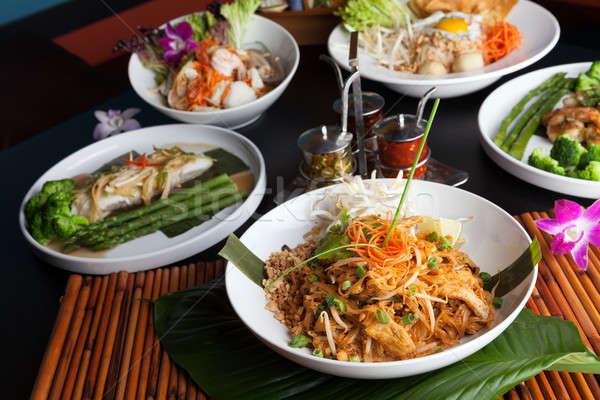 Сток-фото: тайская · еда · блюд · креветок · морепродуктов · блюдо · брокколи