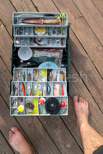 Fishing Tackle Box On a Dock Stock photo © ArenaCreative