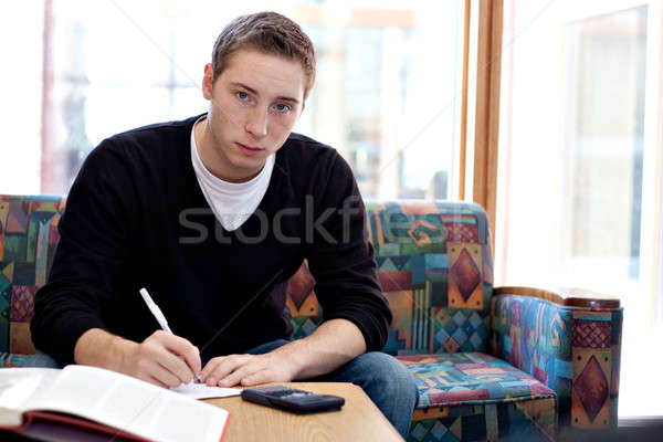 Männlich Hausaufgaben junger Mann arbeiten Wissenschaft Stock foto © ArenaCreative