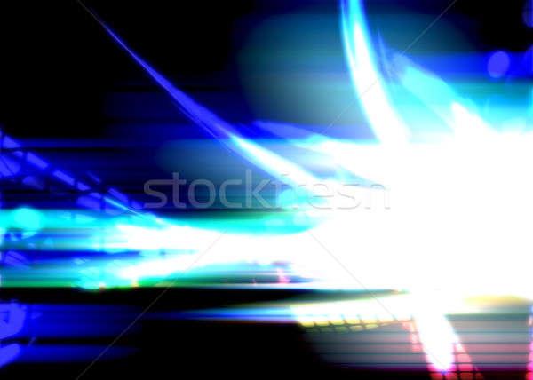 Stock fotó: Fényes · izzó · plazma · kék · fraktál · terv