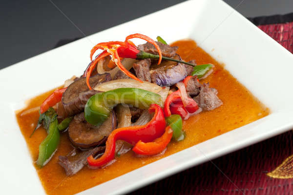 Spicy Eggplant with Beef Thai Food Stock photo © ArenaCreative