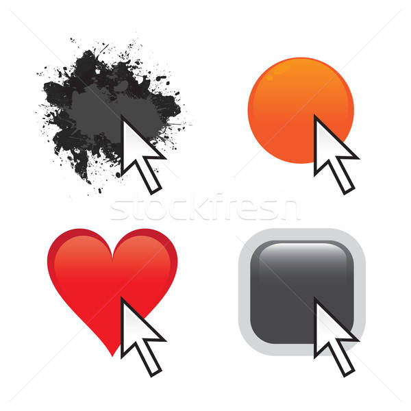 Coutume icônes web ensemble boutons souris flèche Photo stock © ArenaCreative