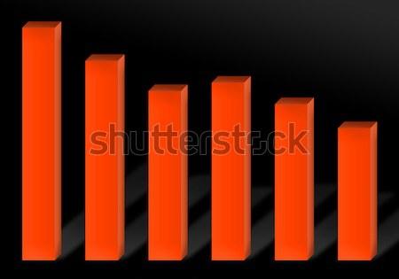 Recesszió diagram 3D piros oszlopdiagram illusztráció Stock fotó © ArenaCreative