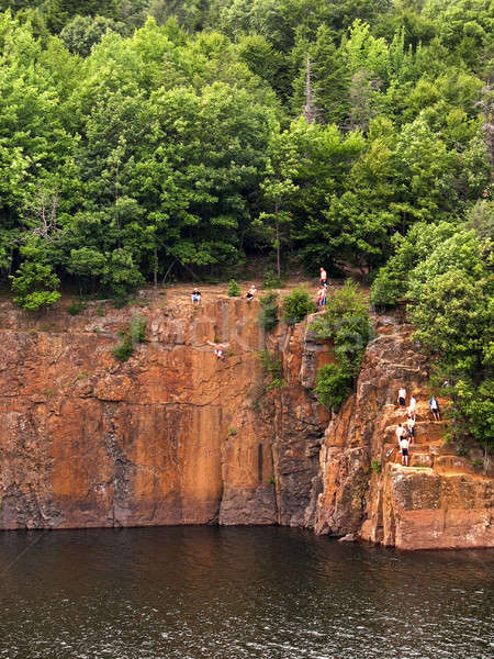 crazy cliff jumpers Stock photo © ArenaCreative