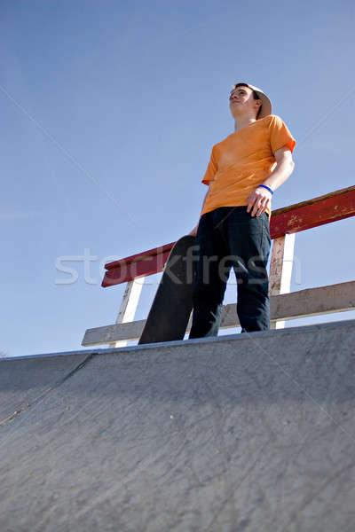 Skateboarder Standing on a Ramp Stock photo © ArenaCreative