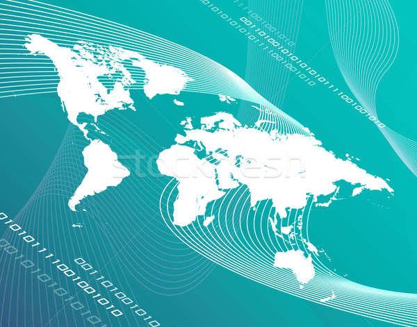 Verde mundo mapa do mundo montagem projeto azul Foto stock © ArenaCreative