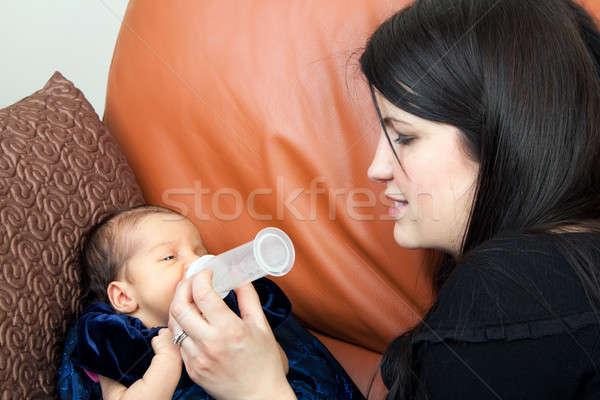 Bebek anne bebek şişe Stok fotoğraf © ArenaCreative