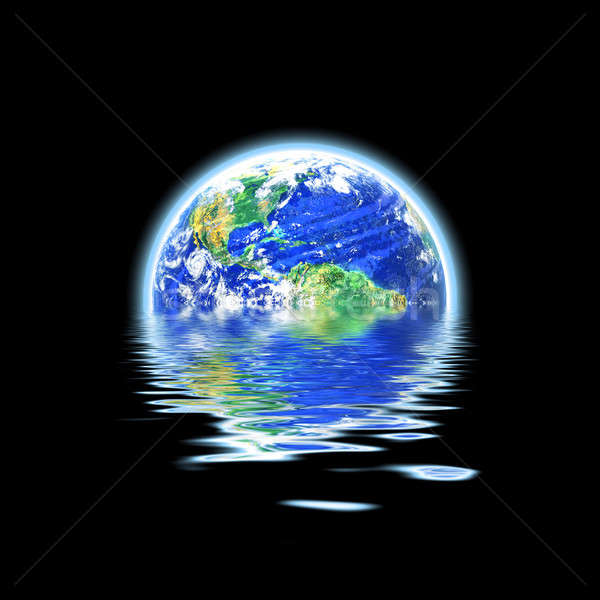 Global Warming Flooded Earth Illustration Stock photo © ArenaCreative