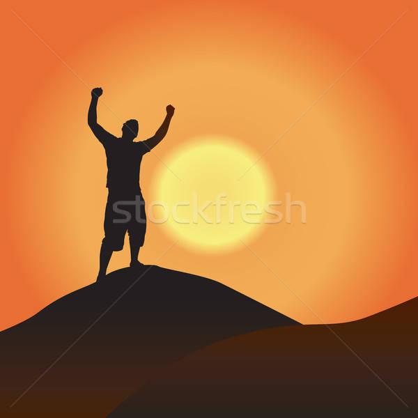 勝利 日没 シルエット 男 山 ストックフォト © ArenaCreative