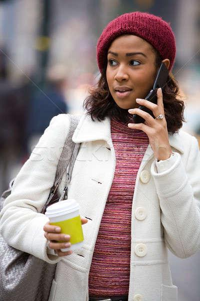 Stock fotó: Nő · mobiltelefon · vonzó · üzletasszony · beszél · forró