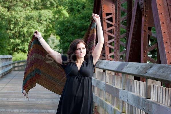 Kaygısız çalışma esinti esmer kadın köprü Stok fotoğraf © ArenaCreative