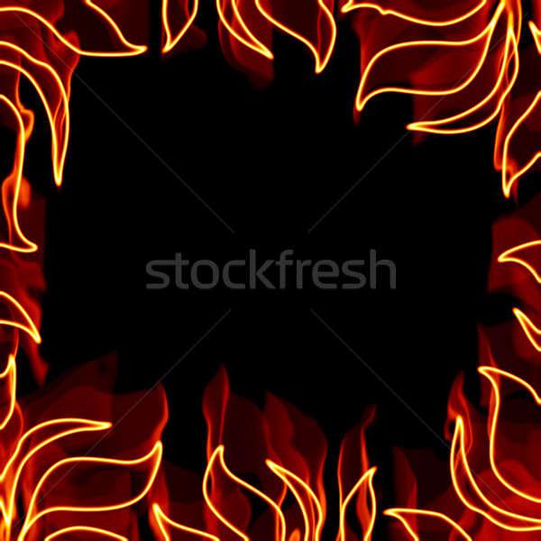Ardiente marco cuadrados frontera llameante piezas Foto stock © ArenaCreative