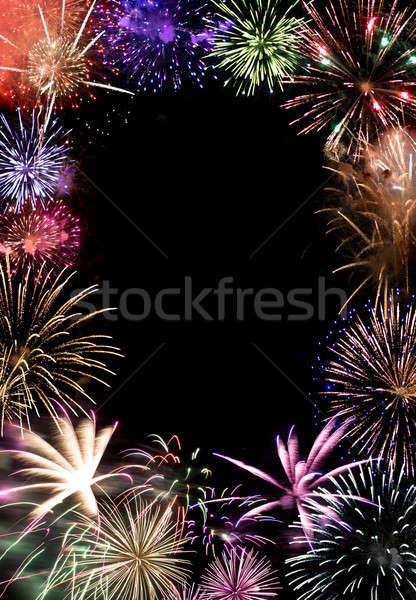 Stockfoto: Vuurwerk · mooie · donkere · nachtelijke · hemel · exemplaar · ruimte · centrum