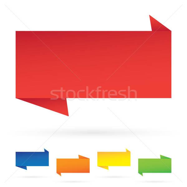 Dikdörtgen biçiminde vektör afiş etiketler modern Stok fotoğraf © ArenaCreative