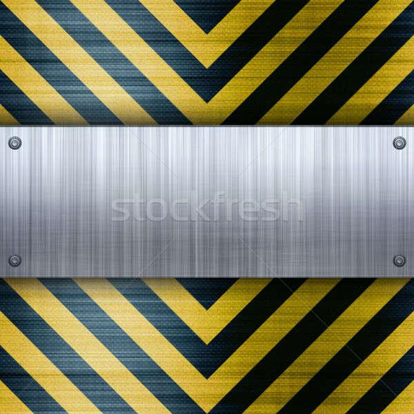 Hazard Stripes Brushed Aluminum Stock photo © ArenaCreative
