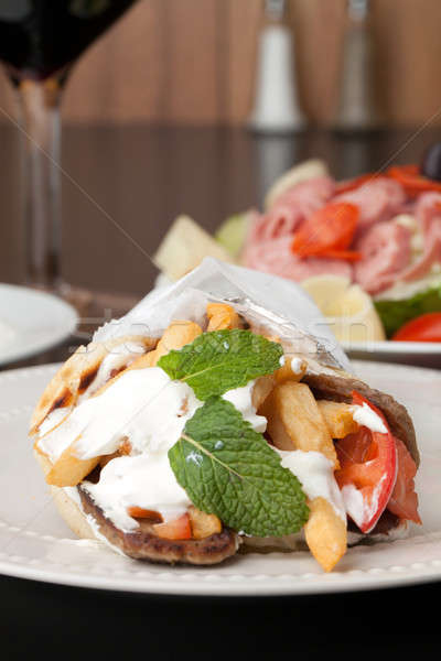 Greek Gyro Pita Wrap Stock photo © ArenaCreative