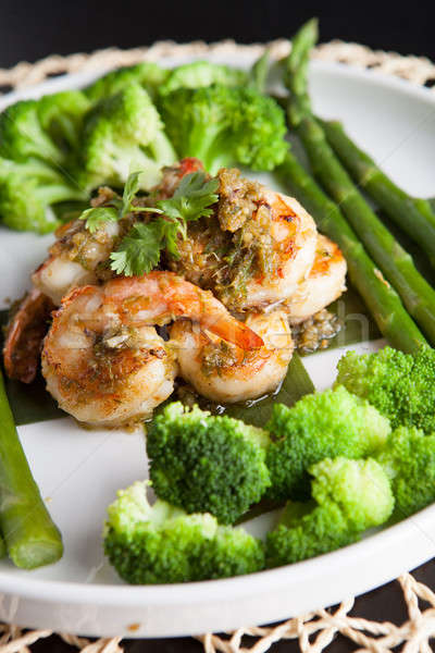 Сток-фото: креветок · овощей · морепродуктов · блюдо · брокколи · спаржа