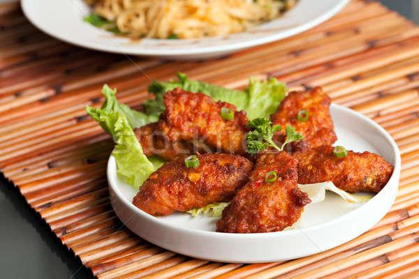 Taylandlı baharatlı tavuk kanatlar stil beyaz Stok fotoğraf © arenacreative