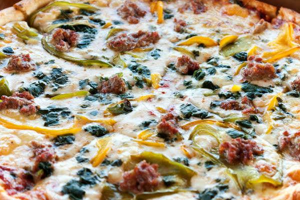 Specialitás kombináció pizza közelkép részlet friss Stock fotó © arenacreative