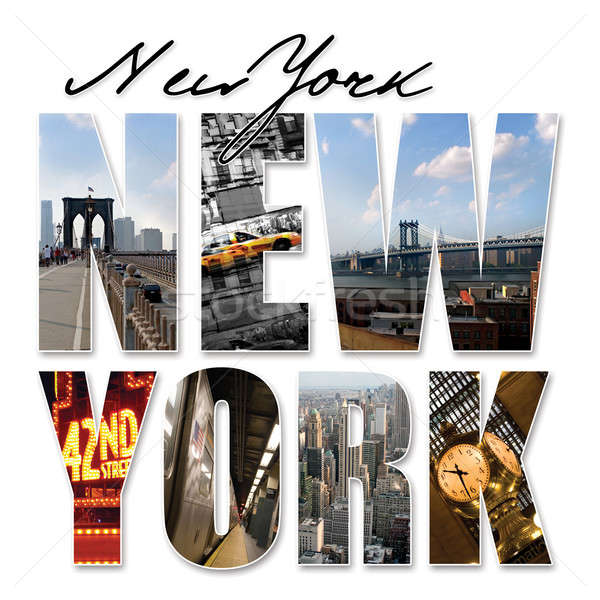 Nueva York gráfico montaje collage diferente famoso Foto stock © ArenaCreative