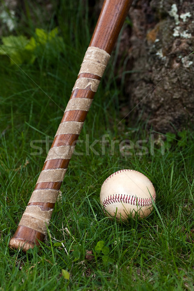 Old Vintage Baseball and Wooden Bat Stock photo © ArenaCreative