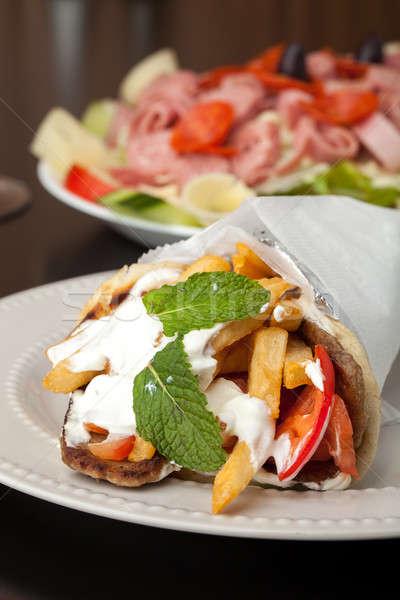 Greek Gyro and Antipasto Salad Stock photo © ArenaCreative
