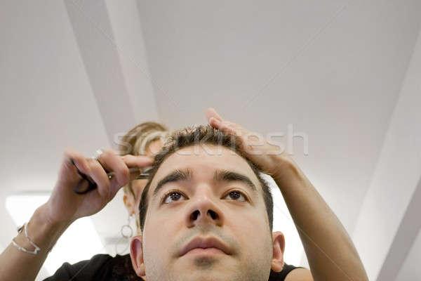 Foto stock: Moço · cabelo · cortar · cabeleireiro · salão