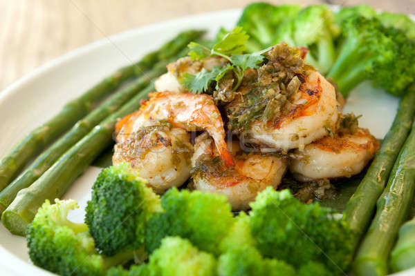 Сток-фото: креветок · морепродуктов · блюдо · брокколи · спаржа · зеленый