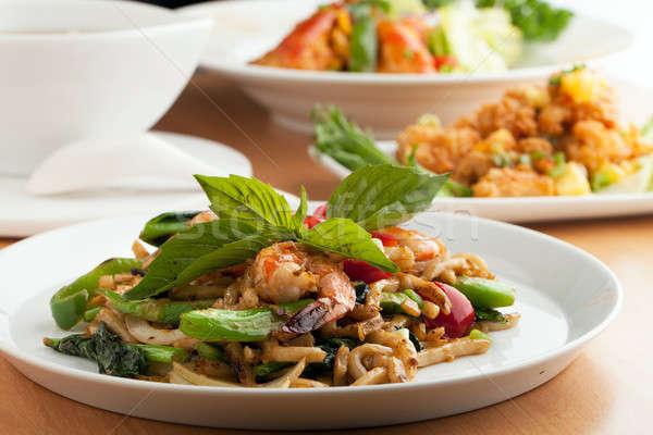 Választék thai étel edények thai ételek előételek Stock fotó © arenacreative