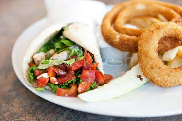 Chicken Pita with Onion Rings Stock photo © arenacreative