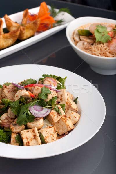 Gurmé thai étel edények friss keverés tofu Stock fotó © ArenaCreative