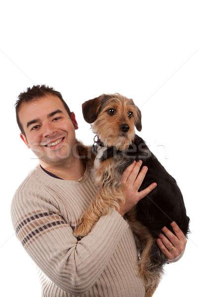 Stock fotó: Fickó · tart · aranyos · kutya · portré · férfi