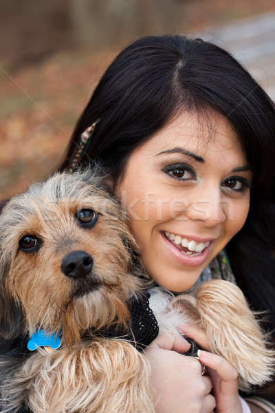 Hispanic Woman with Dog Stock photo © ArenaCreative