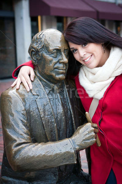 Woman Posing with Public Statue Stock photo © ArenaCreative