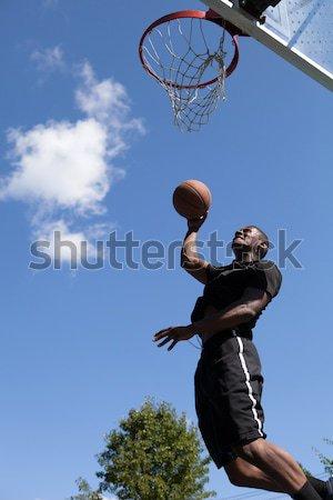 Stock fotó: Férfi · játszik · kosárlabda · fiatal · kosárlabdázó · lövöldözés