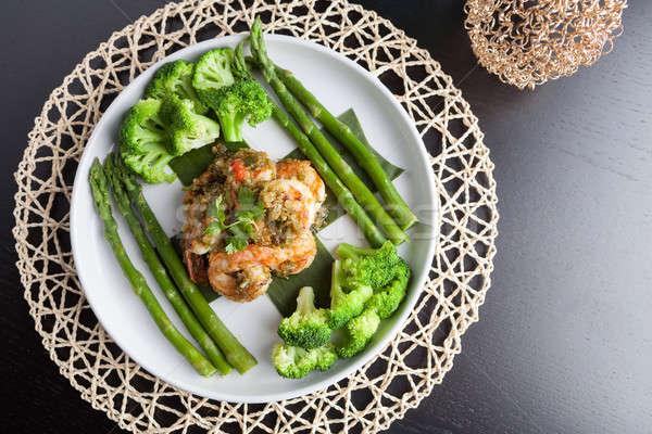 Сток-фото: креветок · спаржа · морепродуктов · блюдо · брокколи · зеленый