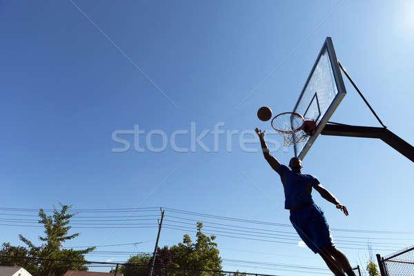 Zdjęcia stock: Koszykówki · sylwetka · młodych · jazdy · nice