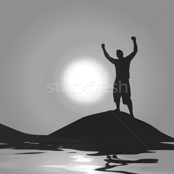 Luar vitória silhueta homem para cima Foto stock © ArenaCreative