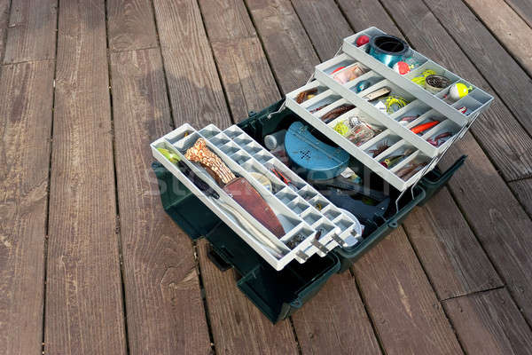 Stocked Fishing Tackle Box Stock photo © arenacreative
