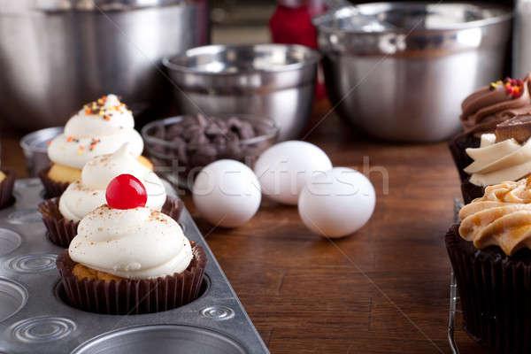 Baking Gourmet Cupcakes Stock photo © ArenaCreative