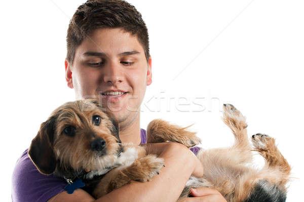 Stock fotó: Férfi · tart · kutya · magas · kulcs · portré