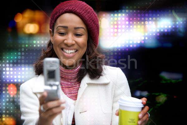 женщину красивой афроамериканец деловой женщины сотового телефона Сток-фото © ArenaCreative
