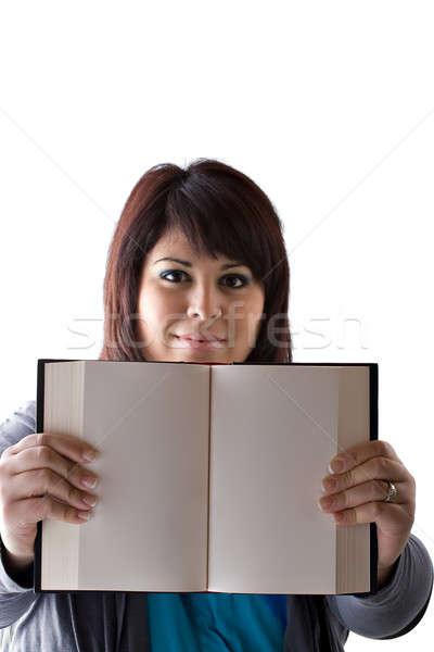 Könyv oldalak huszas évek plus size modell magasra tart Stock fotó © ArenaCreative