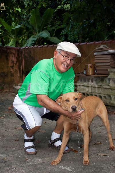 Idős személy férfi kutya idős spanyol nagy Stock fotó © ArenaCreative