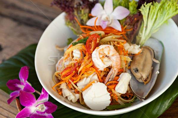 Thai tengeri hal saláta hagyományos edény frissen Stock fotó © arenacreative