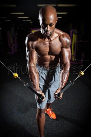 Stockfoto: Spier · man · fitness · gewichten · sexy