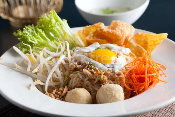 Thai Noodle Dish with Fried Egg Stock photo © arenacreative