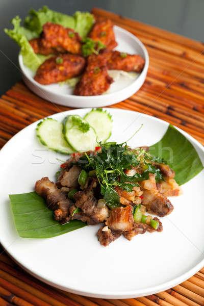 Thai croccante carne di maiale pasto tradizionale piatto Foto d'archivio © arenacreative